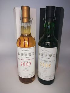 Glen Moray 2007 & Ledaig 2008  Single Cask - Detti & Spiriti  - 70 cl - 2 flaskor