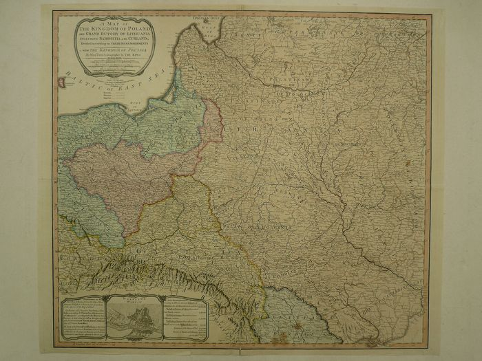 Polen, Warszawa, Lithuania; William Faden - A map of the Kingdom of Poland and Grand Dutchy of Lithuania (...) - 1801-1820