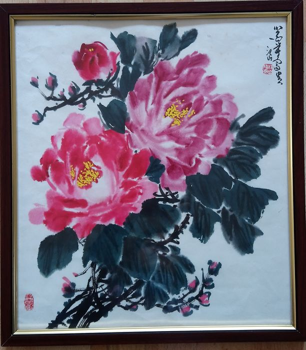 Ink painting (1) - Rice paper - Flowers - In style of the artist - China - Second half 20th century
