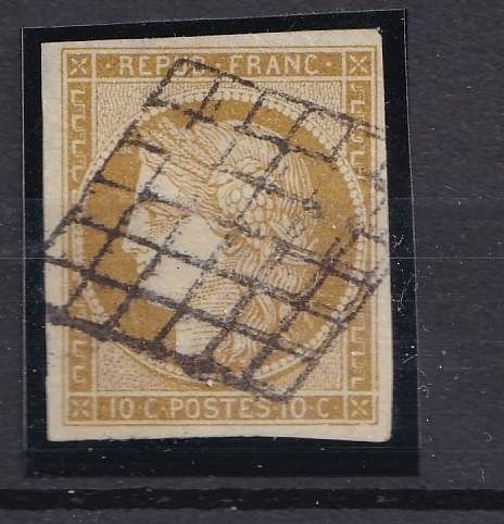 Frankreich 1850 - 10 c Ceres Bistre Yellow, signed Ceres - Yvert 1