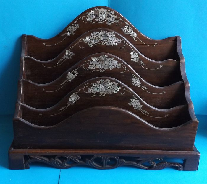 DOOR LETTERS WOOD decor CHINESE - WOOD encrustation NACRE - Late 19th century Antiques for sale