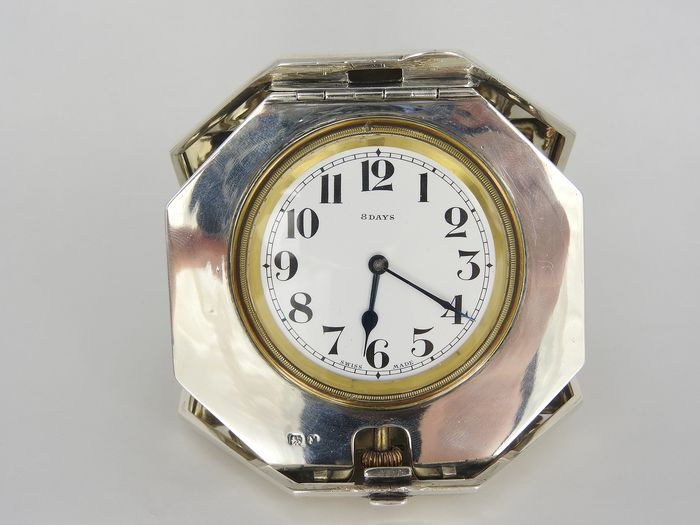 Travel clock - Art Deco - Silver - 1923