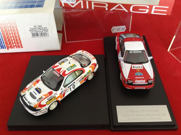 Trofeu Mini Partes & Mirage by HPI  - 1:43 - ref. #RC1994 Toyota Celica 4x4 SST195 1 Rally Catalunya 1994 - Mirage Toyota GT4 1 Rally Svezia 1992 - very good quality modelcar - limited edition