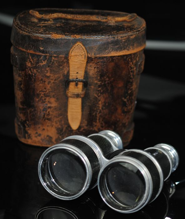 Antique Extending Binoculars with Case Leather Case
