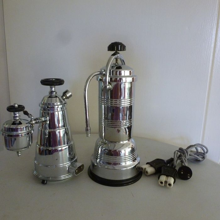 Veritas, Lyon - Jema, Parijs - Two (2) coffee machines from the 50s. - Art Deco - chromed - brass - bakelite