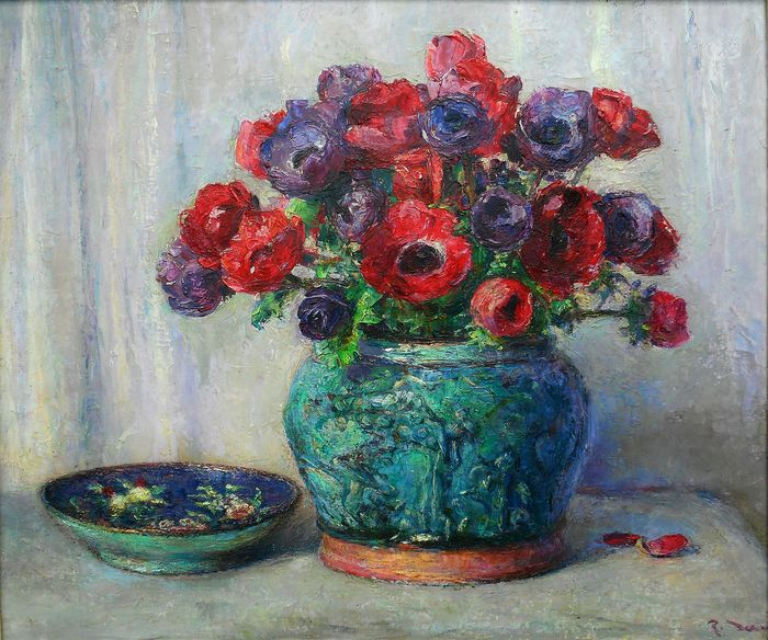 Raoul David (1876-1950)  - Bouquet d'anémones