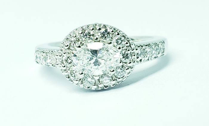 14 carats Or blanc - Bague - 0.67 ct Diamant - Diamants
