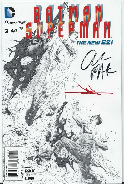 Dc Comics - SUPERMAN BATMAN #2 1:100 SIGNED BY GREG PAK & JAE LEE ZACK SNYDER - Prima edizione (2013)