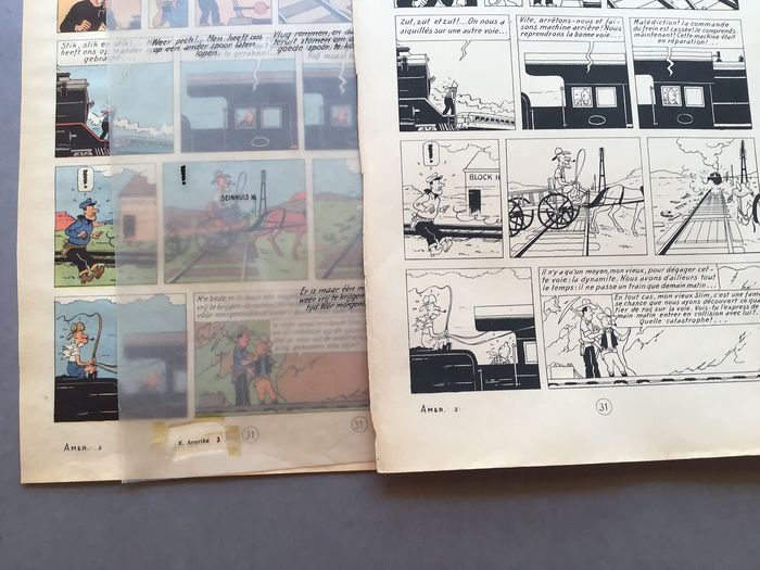 Kuifje, Tintin - Tintin en Amérique - Making Of pl 31  - Page « Alternée 1945 » + Encre de Chine en Néerlandais   - First edition - (1945/1949)