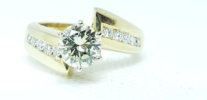 GIA - 14 kt. Yellow gold - Ring - 0.99 ct Diamond - Diamond