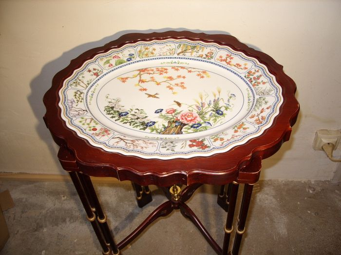 Franklin Mint - Tea table the birds & flowers of the Orient - Hout porselein verguld metaal