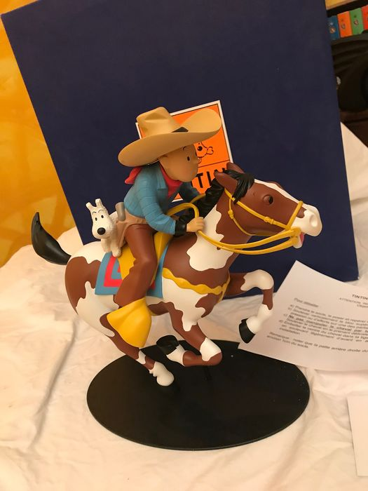 Tintin - Statuette Moulinsart 45942 - Tintin Nostalgie le cow-boy à cheval  - First edition - (2005)