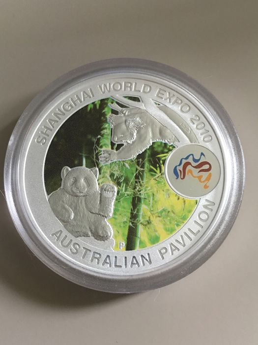 "Australië - 1 Dollar 2010 Shanghai World Expo - ""Panda Meets Koala "" Coloured - 1 Oz  - Zilver"
