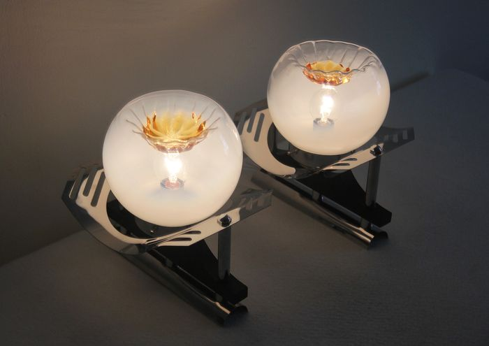 Pair of wall lamps in glass and steel