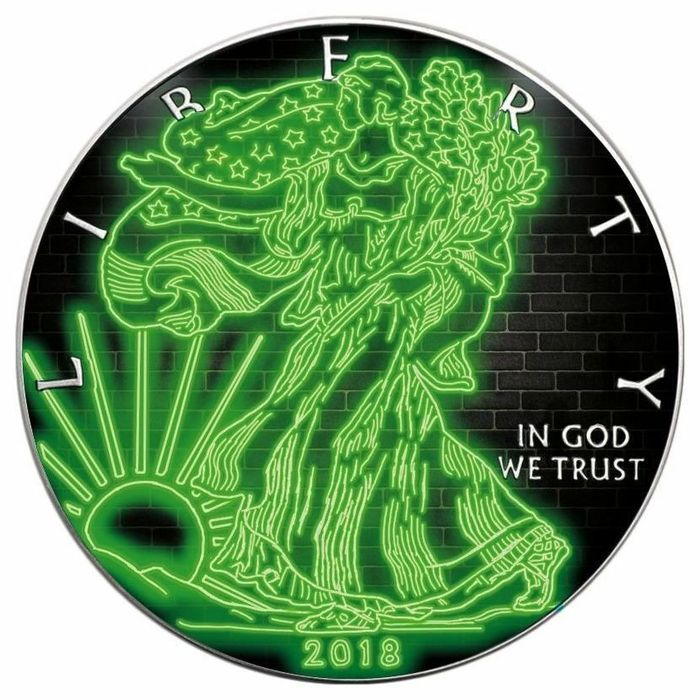 """United States. 1 Dollar 2018 - American Eagle Colorized """"Green Wall""""- 1 oz"""