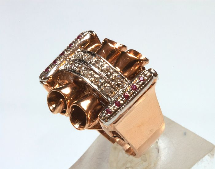 9 carati Pink guld - Ring - Diamanter, Rubiner