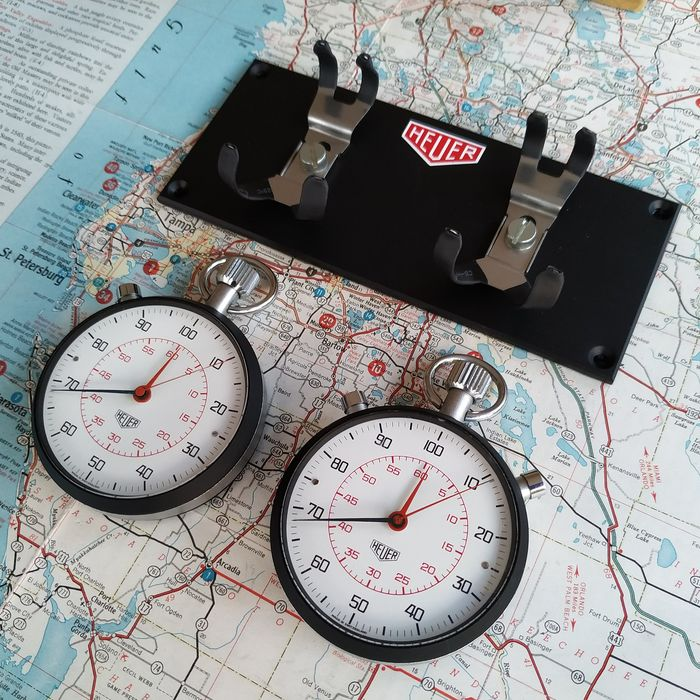 RALLI RACE CHRONOMETRAGE SYSTEM - HEUER - TIME KEEPING 2X JUMBO SPLIT / TAYLOR STOPWATCHES - 1976