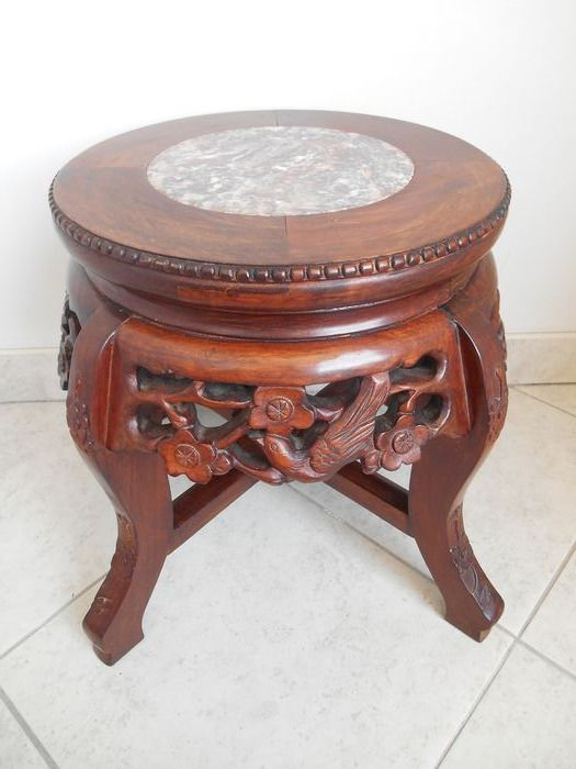 richly carved wooden stand with marble top - Hardwood, Marble - China - mid 20th century for sale