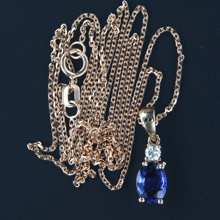 14 kt. Pink gold - Necklace with pendant - 0.95 ct Sapphire - Diamond