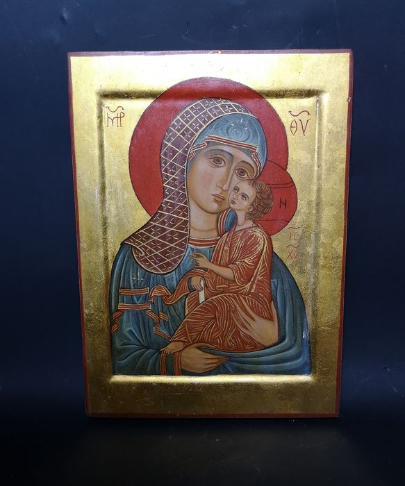 Russian icon painted by hand - Painted on wood Curio Devotional Items for sale