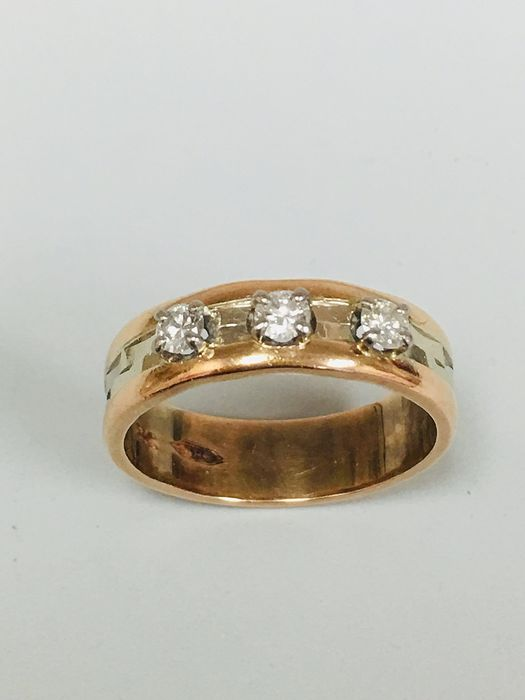 14 kt. Yellow Rose Gold - Ring - 0.30 ct Diamond