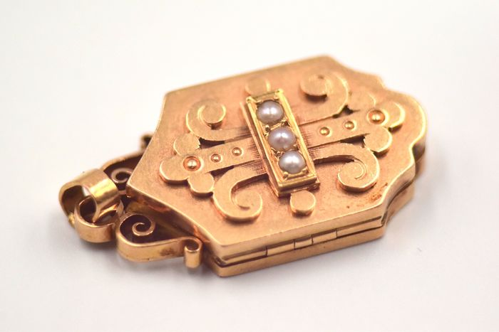 18 kt. Yellow gold - Pendant - Pearls