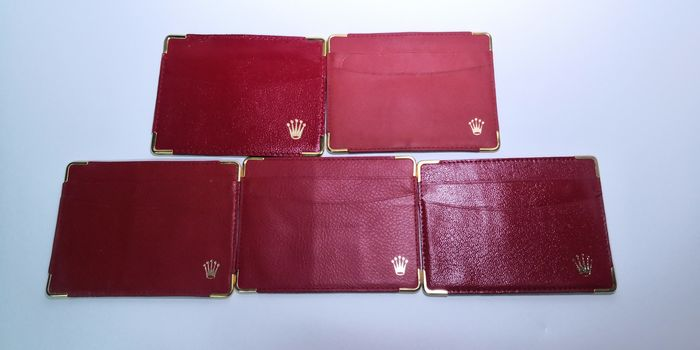 Rolex - 5x mix S/N number red leather credit card holders - Unisex - 1980-1989