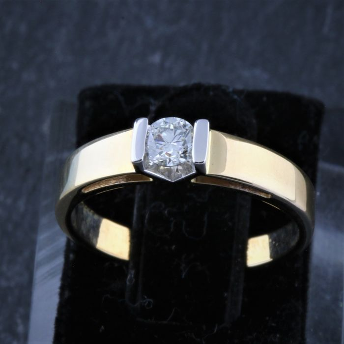 14 karaat Goud, Tweekleurig, Witgoud - Ring - 0.23 ct Diamant