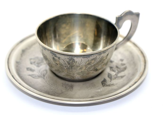 Cup and saucer - .875 (84 Zolotniki) silver - Russia - Second half 20th century