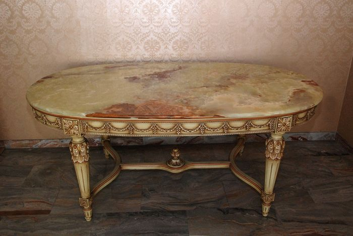 Dining table, Oval table worked with Portugal onyx marble top - Louis XVI Style