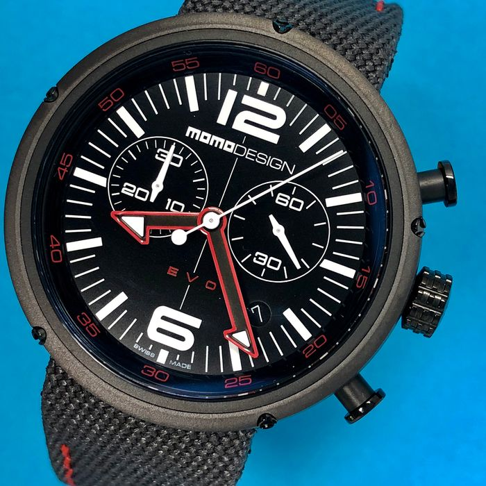 MomoDesign - Chronograph Watch EVO Red Tone Black Dial Swiss Made - MD1012BS-53 - Men - Brand New