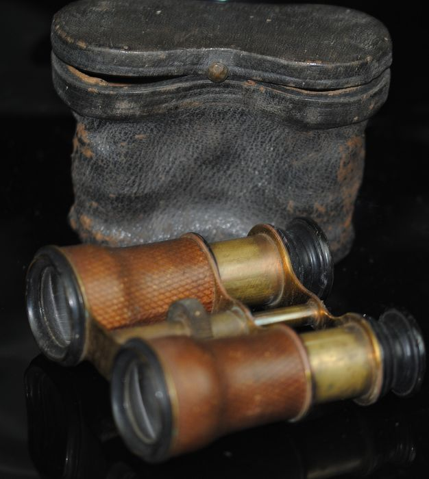 Antique Cased Binoculars  Brass and Leather