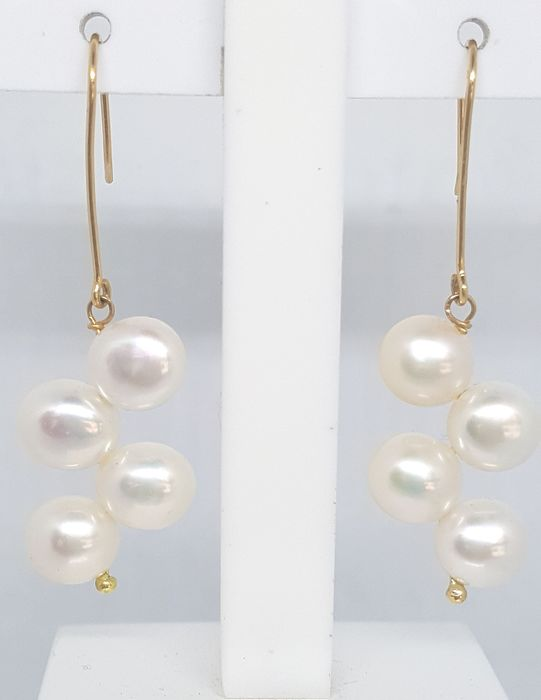 18 kt. Yellow gold - Earrings Cultured pearl