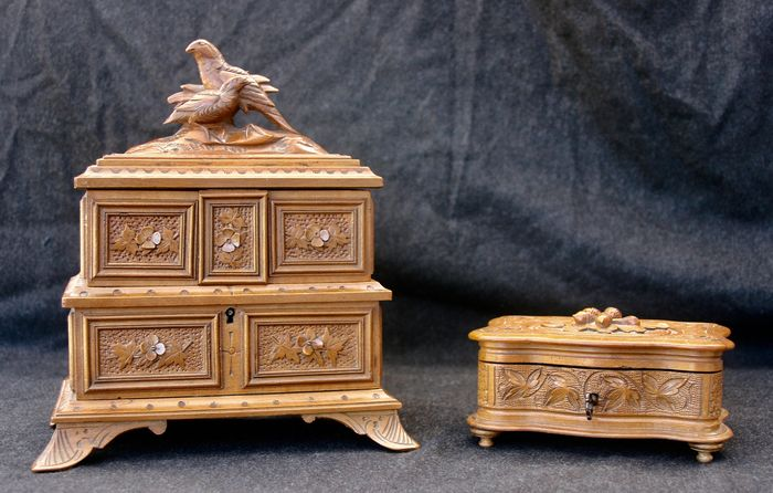 """Two wooden jewelry boxes """"Black Forest - Germany"""" (2) - Wood - First half 20th century"""