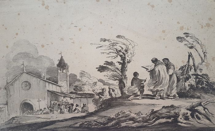Guercino (1591-1666), after, by Jean Pesne (G. Penna) (1623-1700) - Landscape with funeral