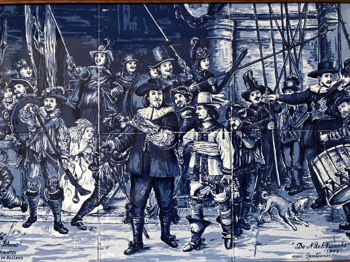 "Naar Rembrandt - Nederlandse Keramische Industrie - Panel de azulejos ""The Night Watch 1642"" (1) - Cerámica, Madera"