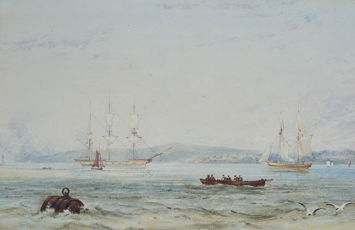 English school (19th century) - A marine scene with shipping.