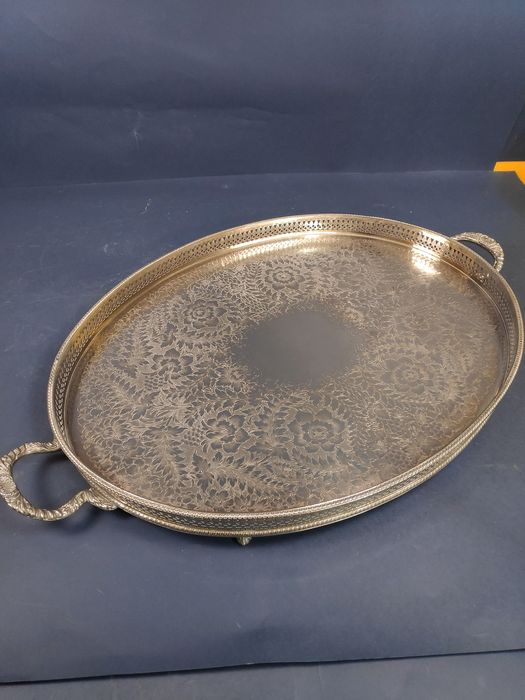Large silver-plated tray with decorated handles and perforated raised edge - plated in silver - U.K. - 1900-1949