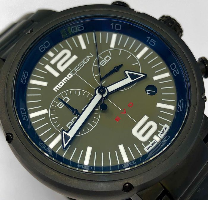 MomoDesign - Chronograph Watch EVO Green Dial Swiss Made - MD1012BR-40 - Men - Brand New