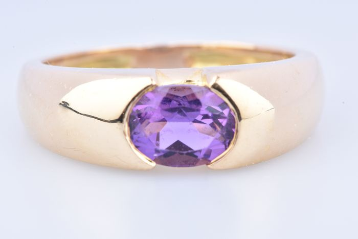 18 kt. Yellow gold - Ring - 0.74 ct Amethyst