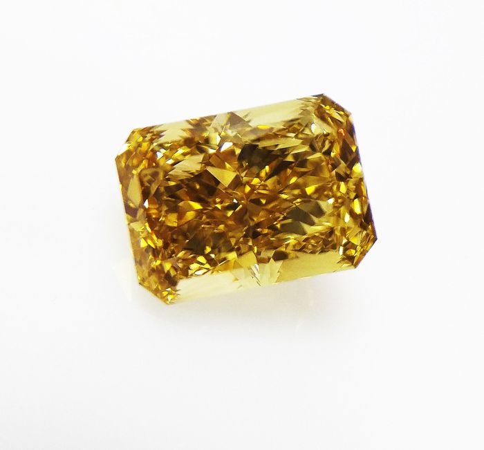 Diamant - 3.02 ct - Brillant Modifié Rectangulaire Coudé - fancy brown yellow - VS2