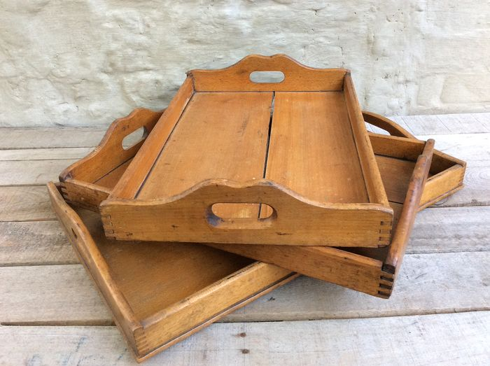Rare wooden drawers / trays with dovetail connection (3) - Wood