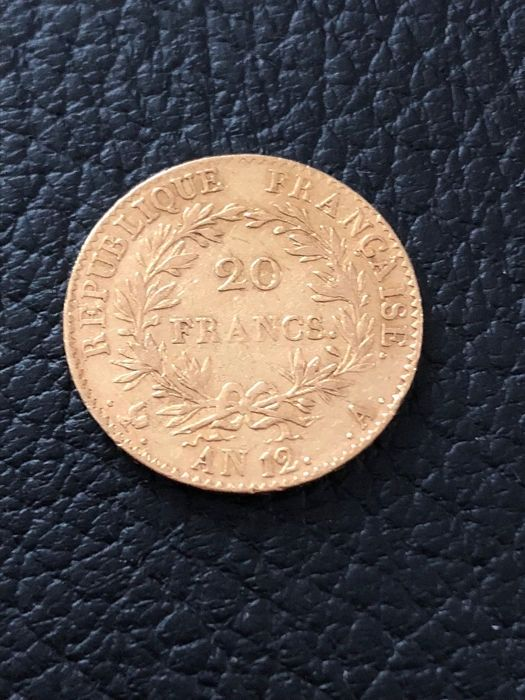 France - 20 Francs An 12-A (Paris) Bonaparte Premier consul  - Gold
