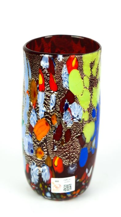 Imperio Rossi (Murano) - Red Cylinder Fantasy Vase - Glass