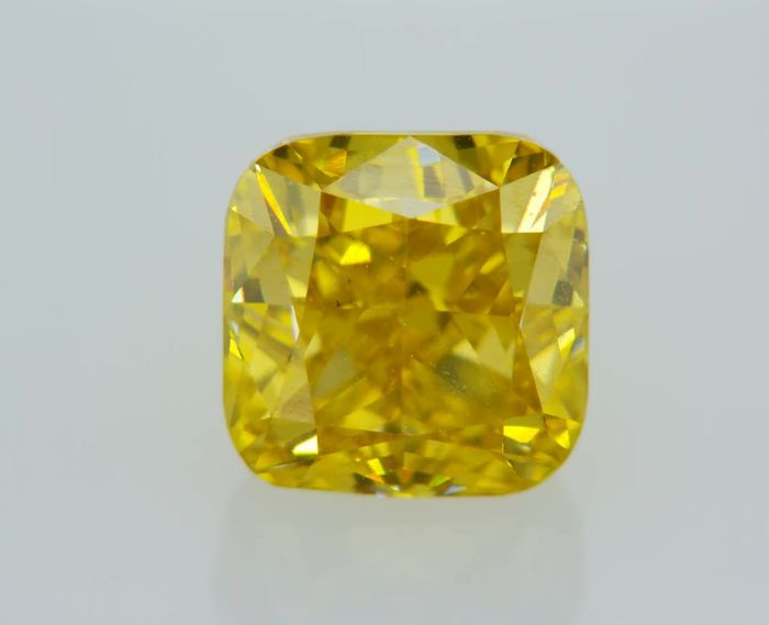1 pcs Diamante - 1.20 ct - Cojín - fancy deep yellow - VS2