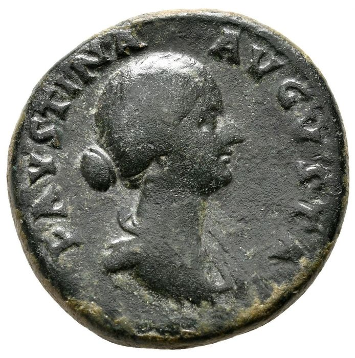 Impero romano - Sestertius - Faustina junior (147-175 A.D.) Rome 160-161 A.D. - FECVND AVGVSTAE S C, Faustina with four infants - Bronzo
