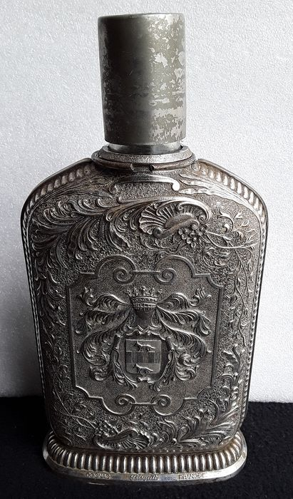 Cognac Bisquit  - Collectable Rare Super Vintage Carafe - silver plated metal
