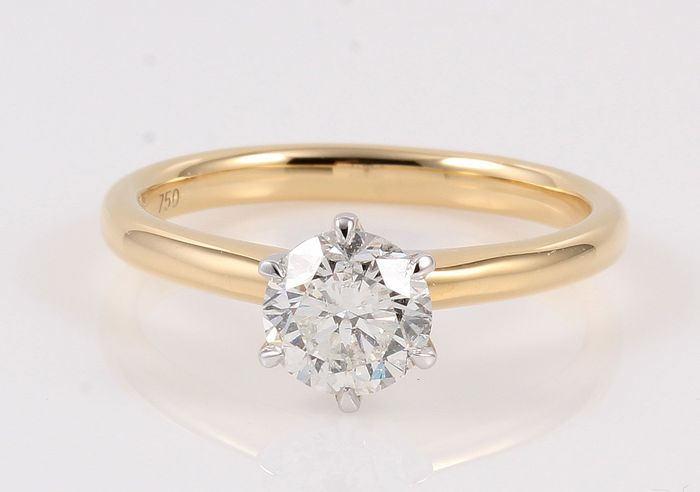 18 kt. White gold, Yellow gold - Ring - 1.03 ct Diamond