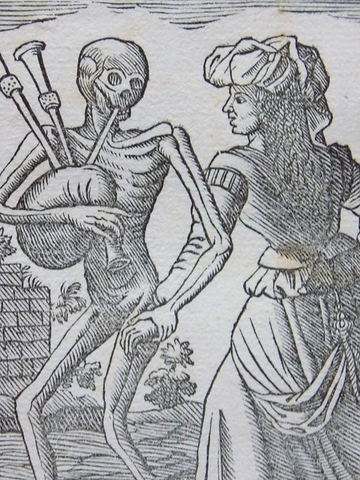 Georg Scharffenberg (1530-1607); Memento Mori - Dance of Death - Der Heydin - Bagpipes - Woodcut leaf - 1588 [1796]