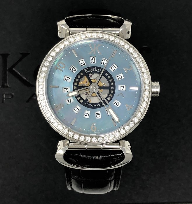 Korloff - Diamonds 1,40 Carats Automatic Blue Mother of Pearl Dial Voyager Collection Swiss Made  - VABSD - Heren - Brand New